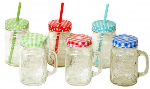 Limonádés korsó / pohár szett 6 db-os, 6x0,5 liter, fedéllel és szívószállal
