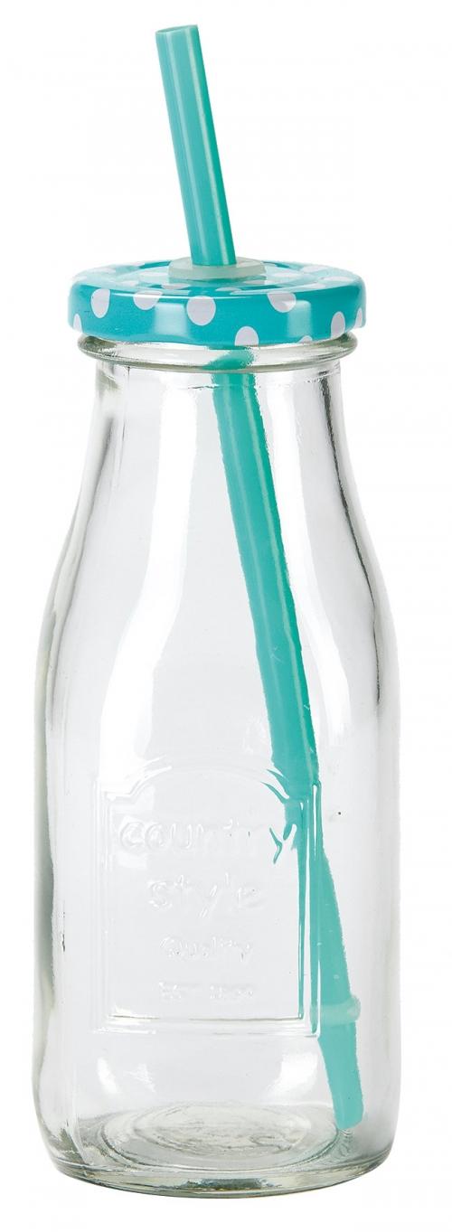 Limonádés üveg/pohár 0,325 liter fedéllel és szívószállal