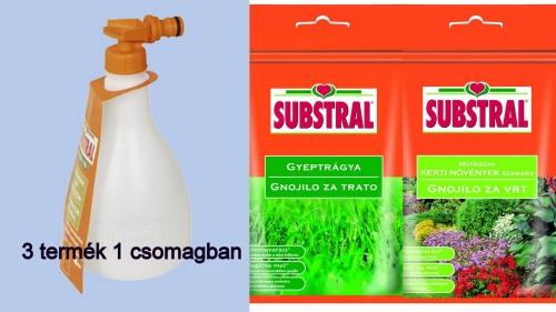 Substral 3 in 1 szett, kézi kiszóró, gyeptrágya, növénytrágya