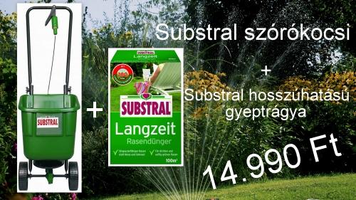 Substral Easygreen szórókocsi 12 L és Hosszúhatású gyeptrágya 100 m2